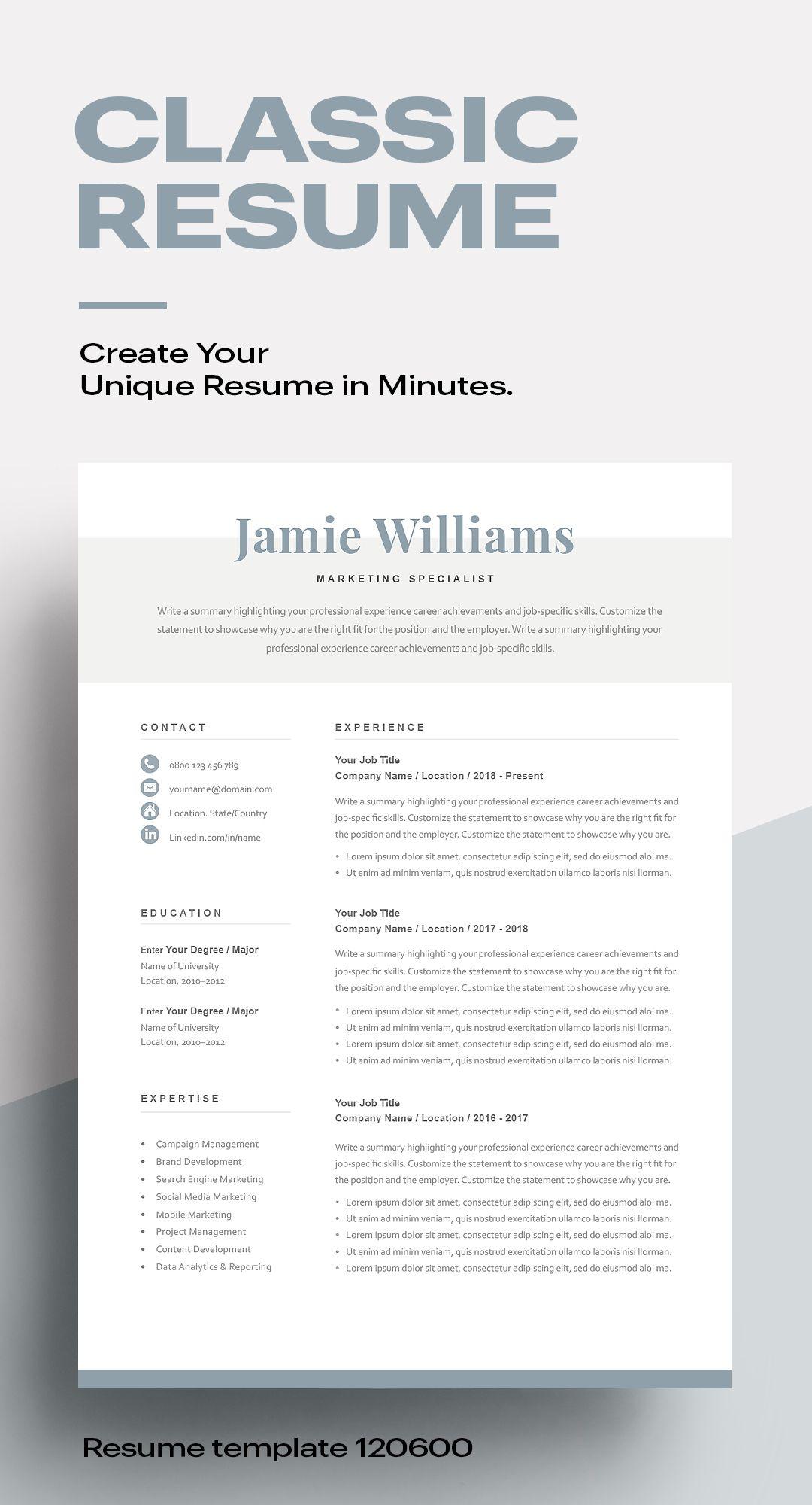 Modern Resume Template 120090 Resumeway in 2020 Resume