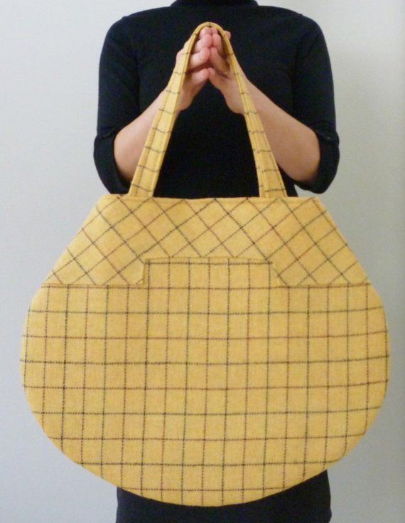 The Milano Tote - Wool Butter Yellow Plaid