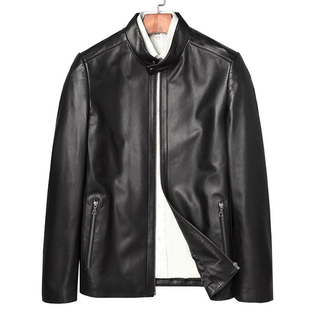 Promote Natural Sheepskin Leather Jacket Men Fashion Spring Leather Genuine Outwear Stand Colla Leather Jacket Men Style Leather Jacket Men Mens Spring Fashion [ 1000 x 1000 Pixel ]