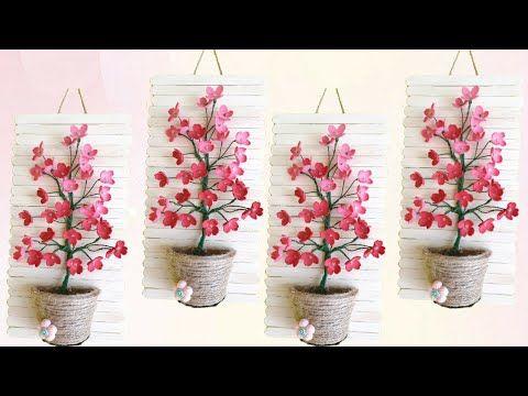 Walldecor Ideas | DIY Tutorial Stik Es Krim dan Bunga Spon | Popsicle Stick and Foamiran Flowers - YouTube