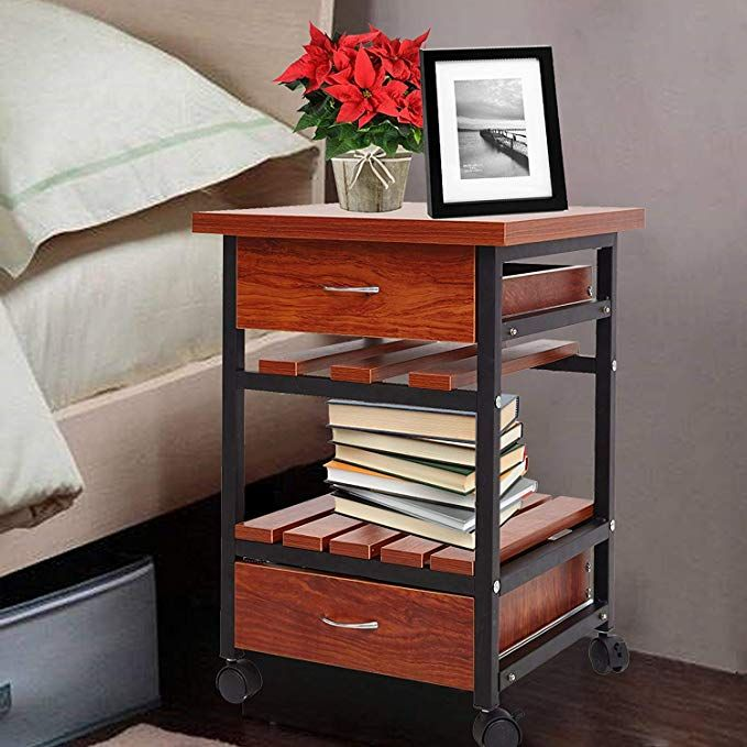 Karmas Product Beside Table With Drawers Rolling Nightstand Small End Table Bedroom Living Room Side Table With Storage Shelf Teak Colour Review Living Room Side Table Quality Living Room Furniture Small Living Room