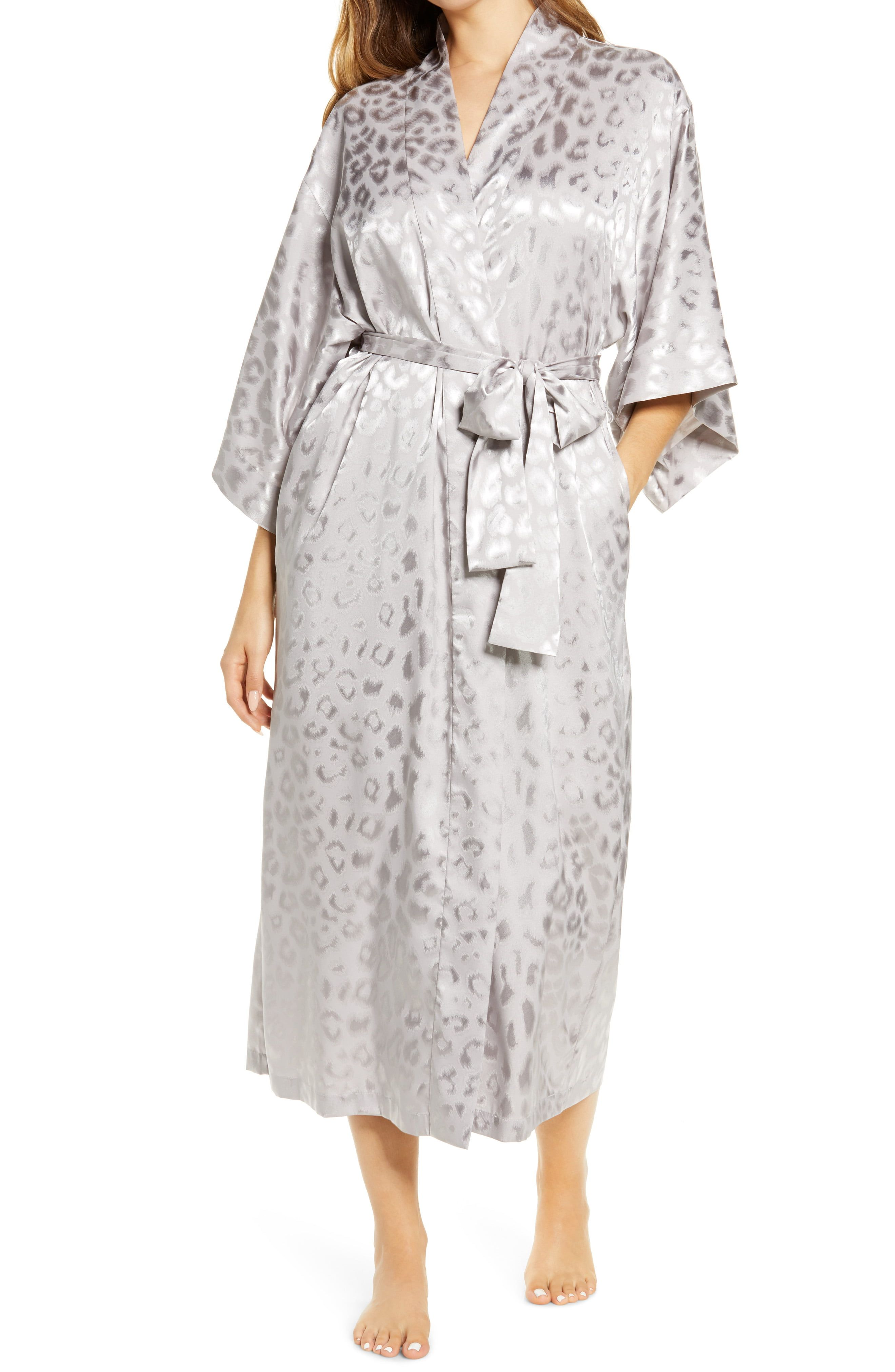 Relax in true elegance in this long kimono-inspired robe shaped from silky, drapey stretch-satin with radiant leopard jacquard motif. Style Name:Natori Decadence Leopard Jacquard Satin Robe. Style Number: 6114055. Available in stores.