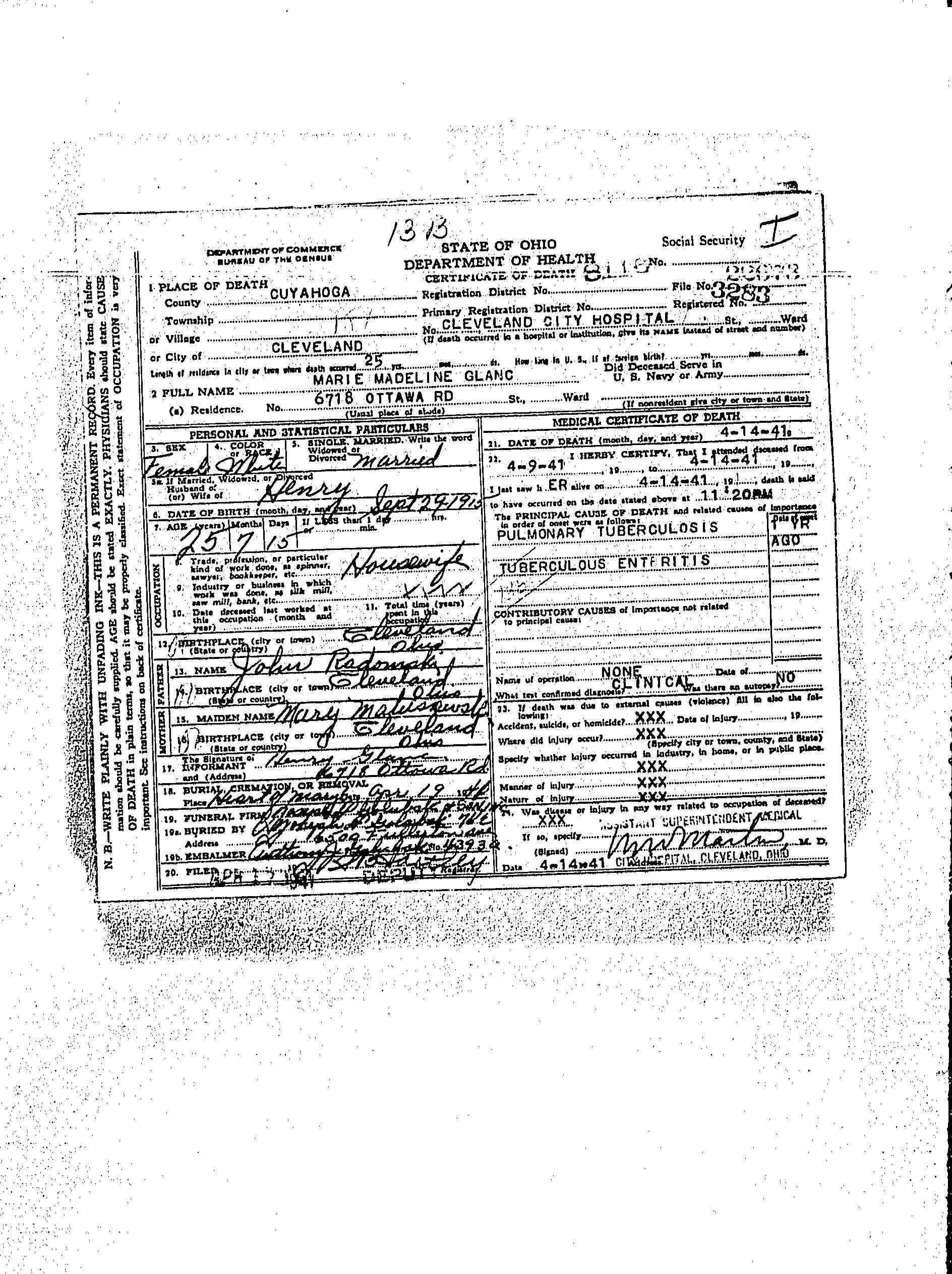 Marie Madeline Radomski Glanc Death Certificate Daughter Of John