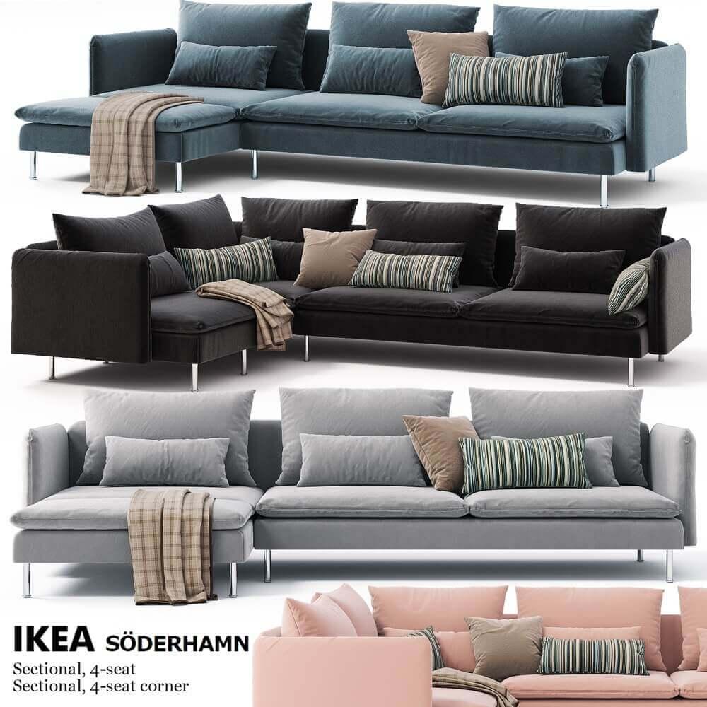 Corner sofas Ikea SODERHAMN 3D Model Ikea sofa, Ikea