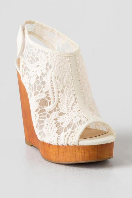 Lucky Brand Rezdah Crochet Wedge Shoe Boots Wedding Shoes Heels