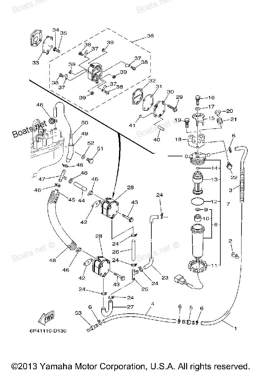 Diagram of 2005 LZ200TXRD Yamaha Outboard FUEL Diagram and