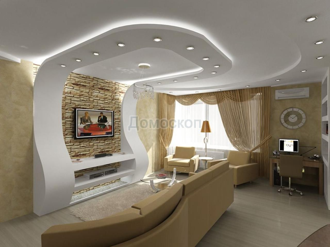 strikingly design ideas interior lighting. 3D wall to ceiling with recessed lighting 15 Striking Gypsum Board in  Living Room