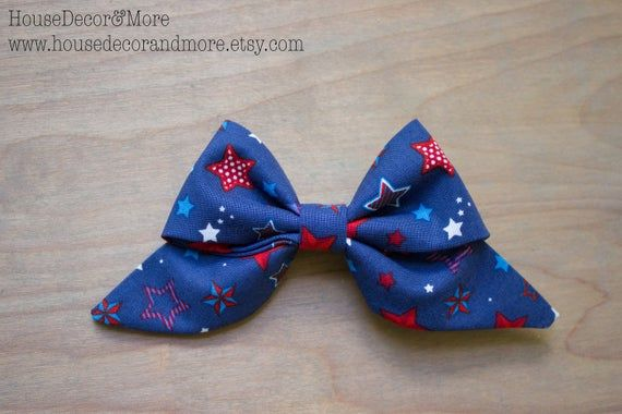 Patriotic Stars Fabric Hair Bows - Girls Red white and blue Fabric Hair Bow - Toddler Americana Fabric Hair Bows - Birthday Hair Bows