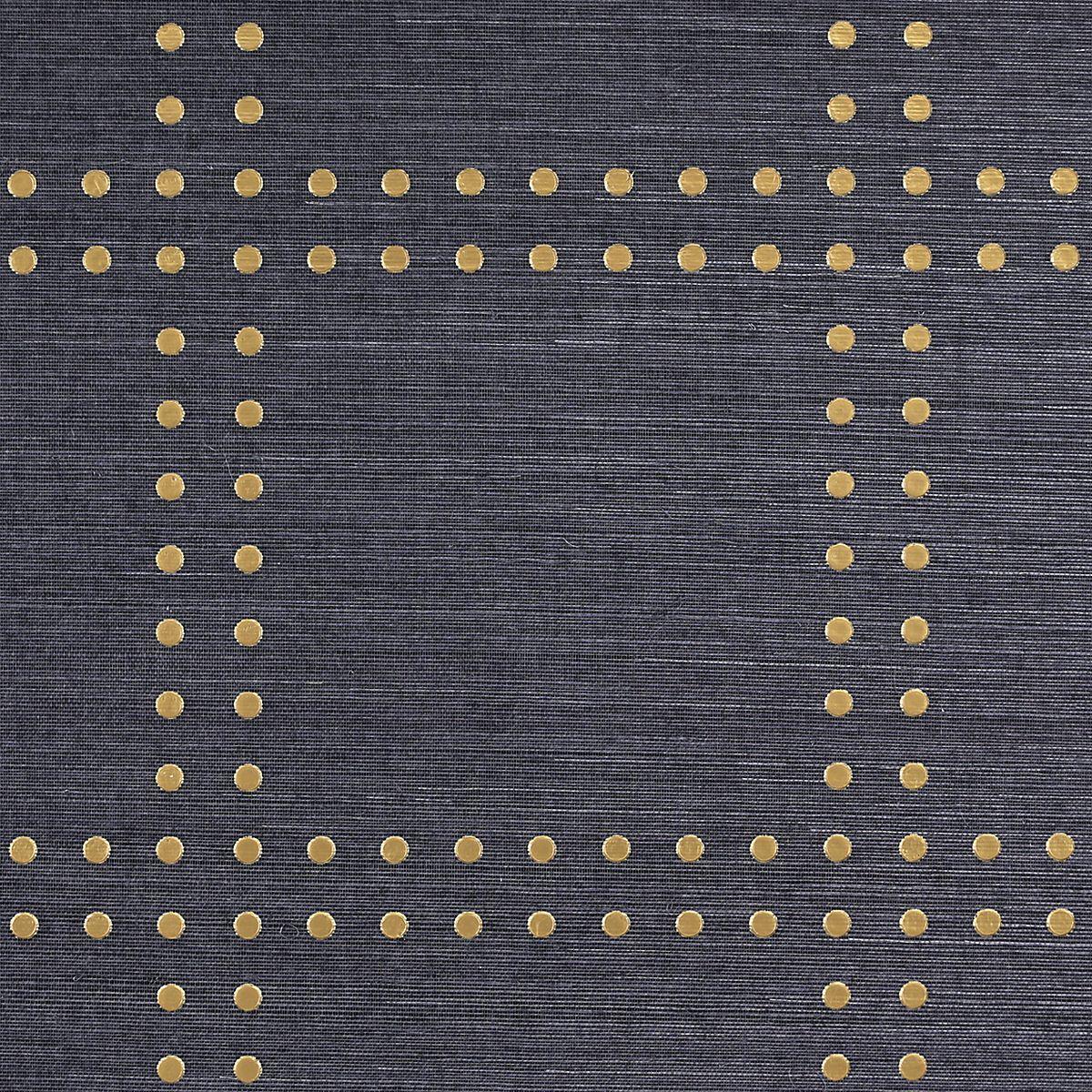 Navy Grasscloth Wallpaper And Gold Rivets Mirror: PJ_5700 GOLD ON NAVY MANILA HEMP RIVETS