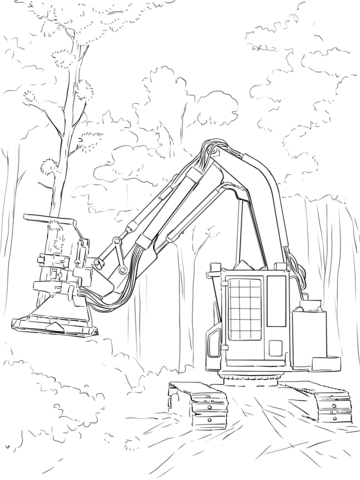 Feller Buncher Coloring Page Feller Buncher Coloring