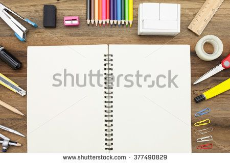 Business concept:stapler,glue,scissor,cutter,tape,pen,pencil,clip,ruler,rubber,diary ,divider,sharpener,wooden block calendar and color pencil on wooden  - stock photo