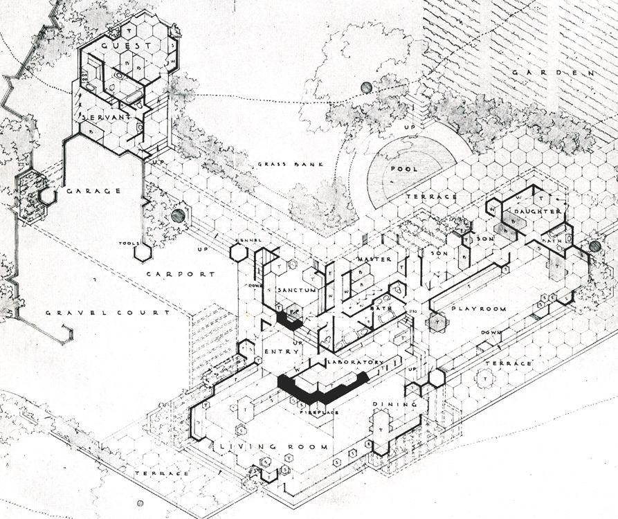 Honeycomb house frank lloyd wright google zoeken for Honeycomb house floor plan