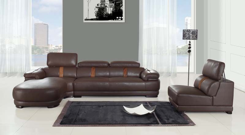 Chintaly Oklahoma Leather Brown Sectional Sofa Modern