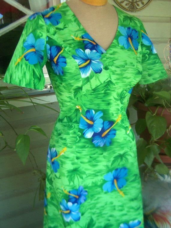 Vintage Womens Hawaiian Dress Maxi Dress Royal by papercherries, $45.00