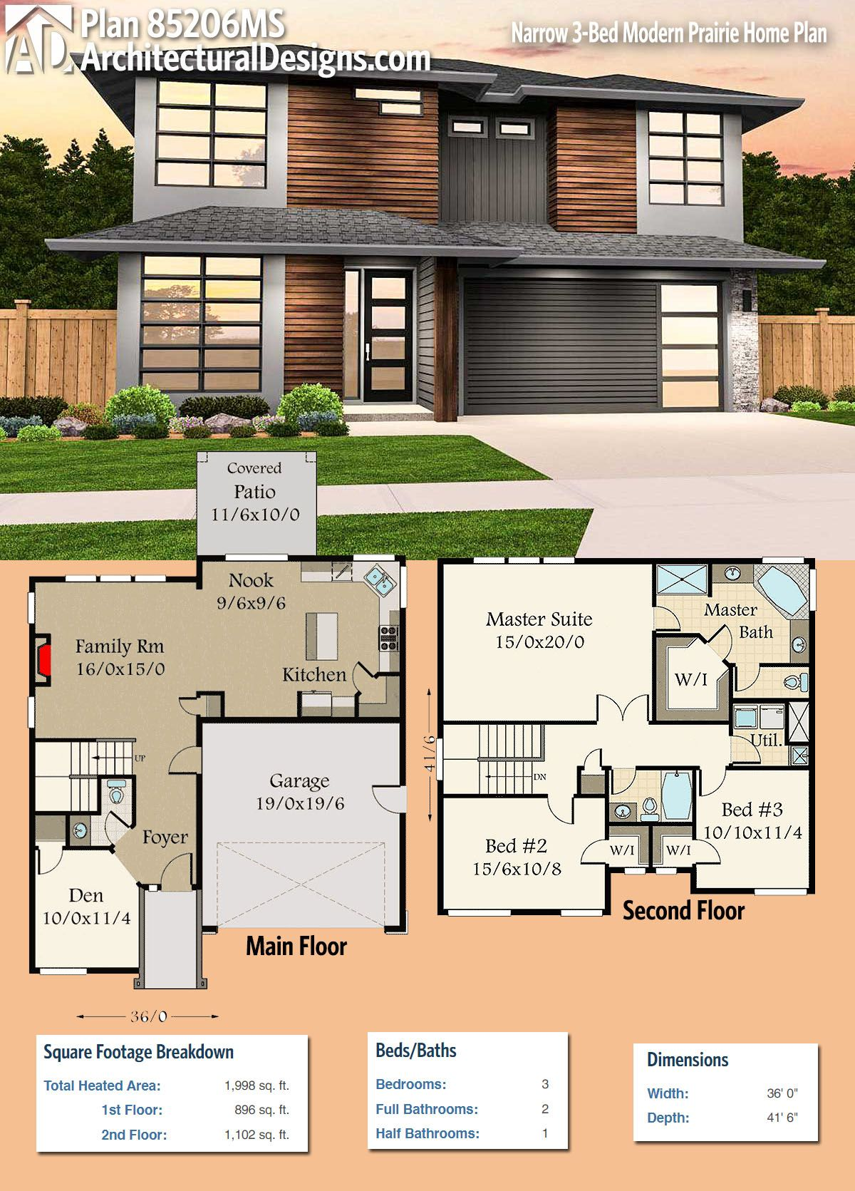 Plan 85206ms Narrow 3 Bed Modern Prairie Home Plan Modern Prairie Home Modern House Plans House Plans
