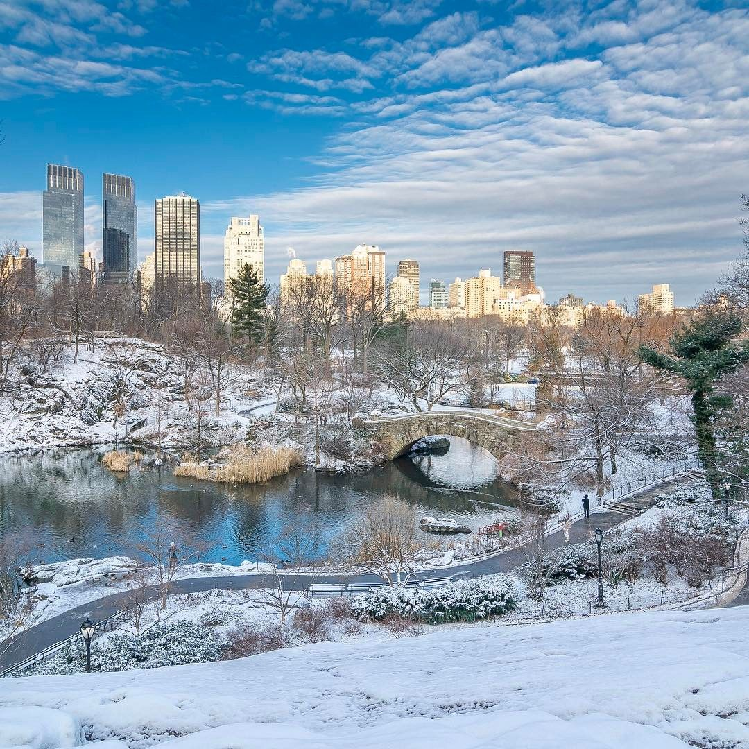 beautiful winter scene at the pond and gapstow bridge in central