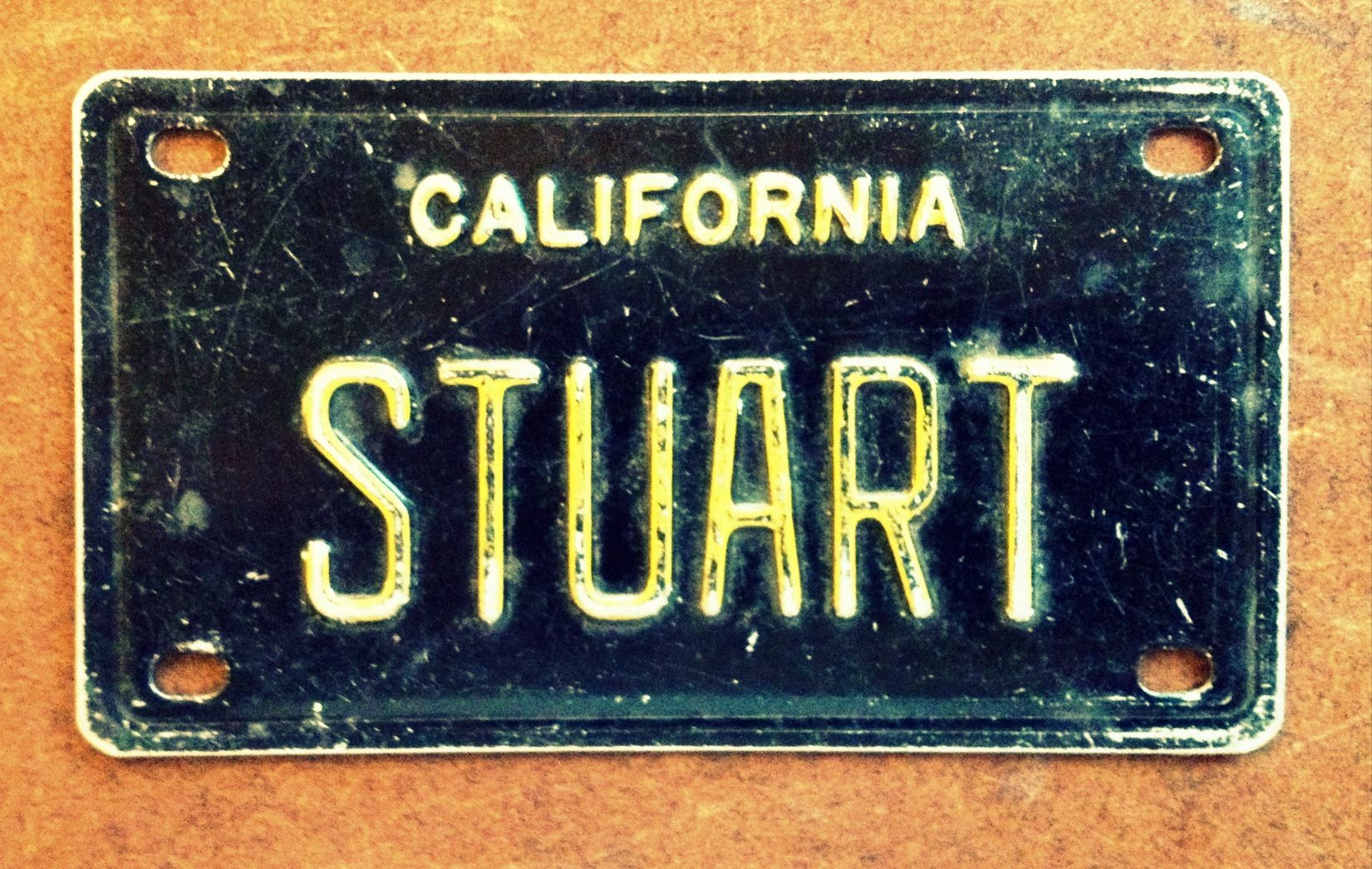 "Amazing find. The only ""Stuart"" in a big box of old mini-plates, sitting right on top staring back at me (50 cents)."