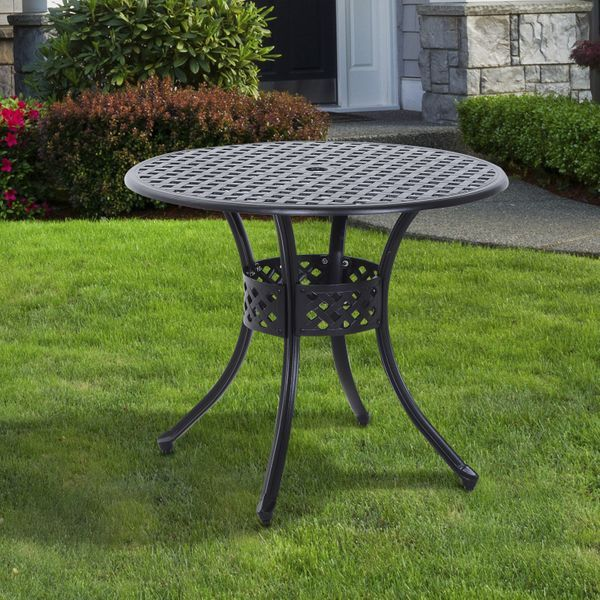 Outsunny Cast Aluminum Garden Round Dining Table Outdoor Garden Furniture Black with Umbrella Hole