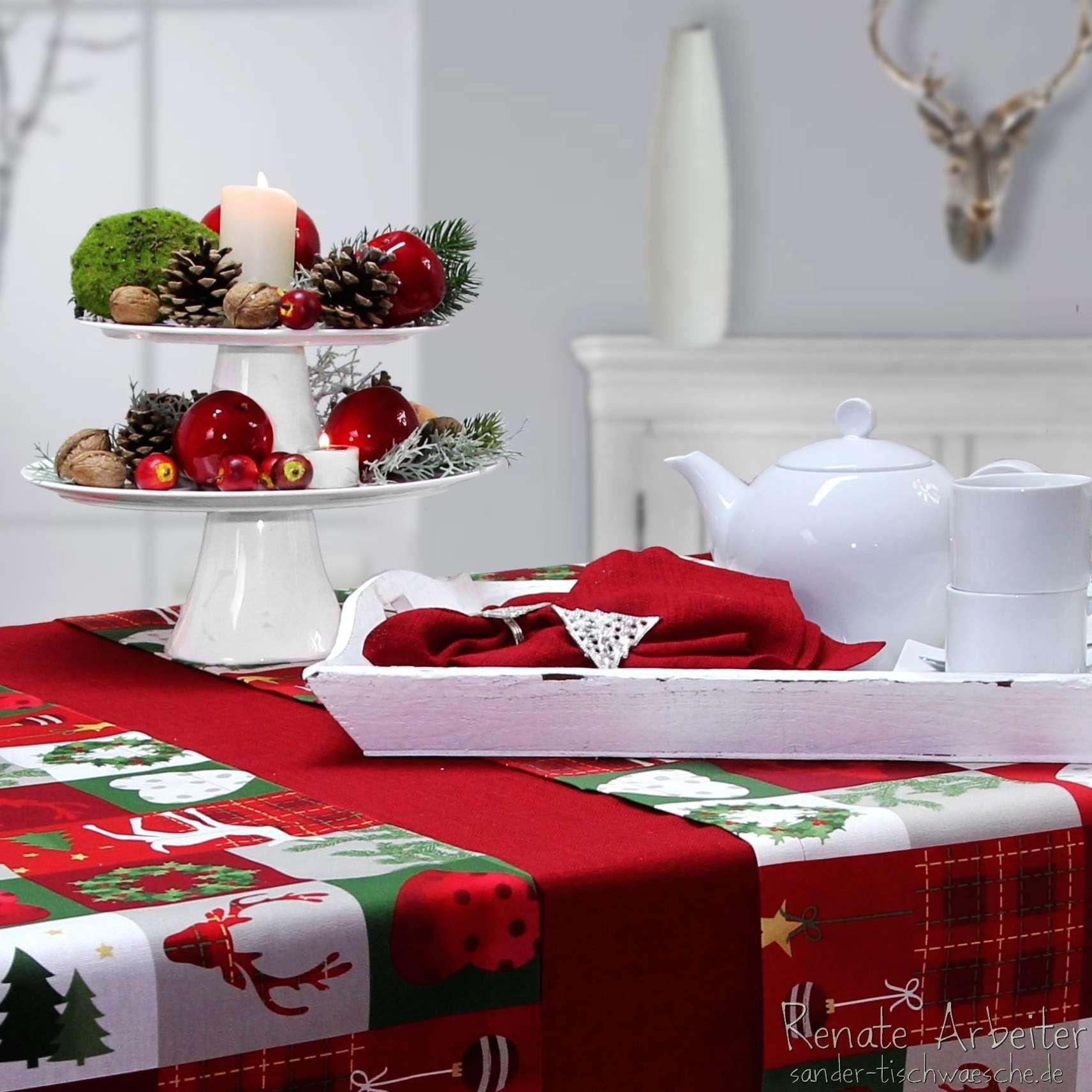 2 etageren aufeinandergestellt ergeben eine schnell zu zaubernde weihnachtsdeko tischw sche. Black Bedroom Furniture Sets. Home Design Ideas
