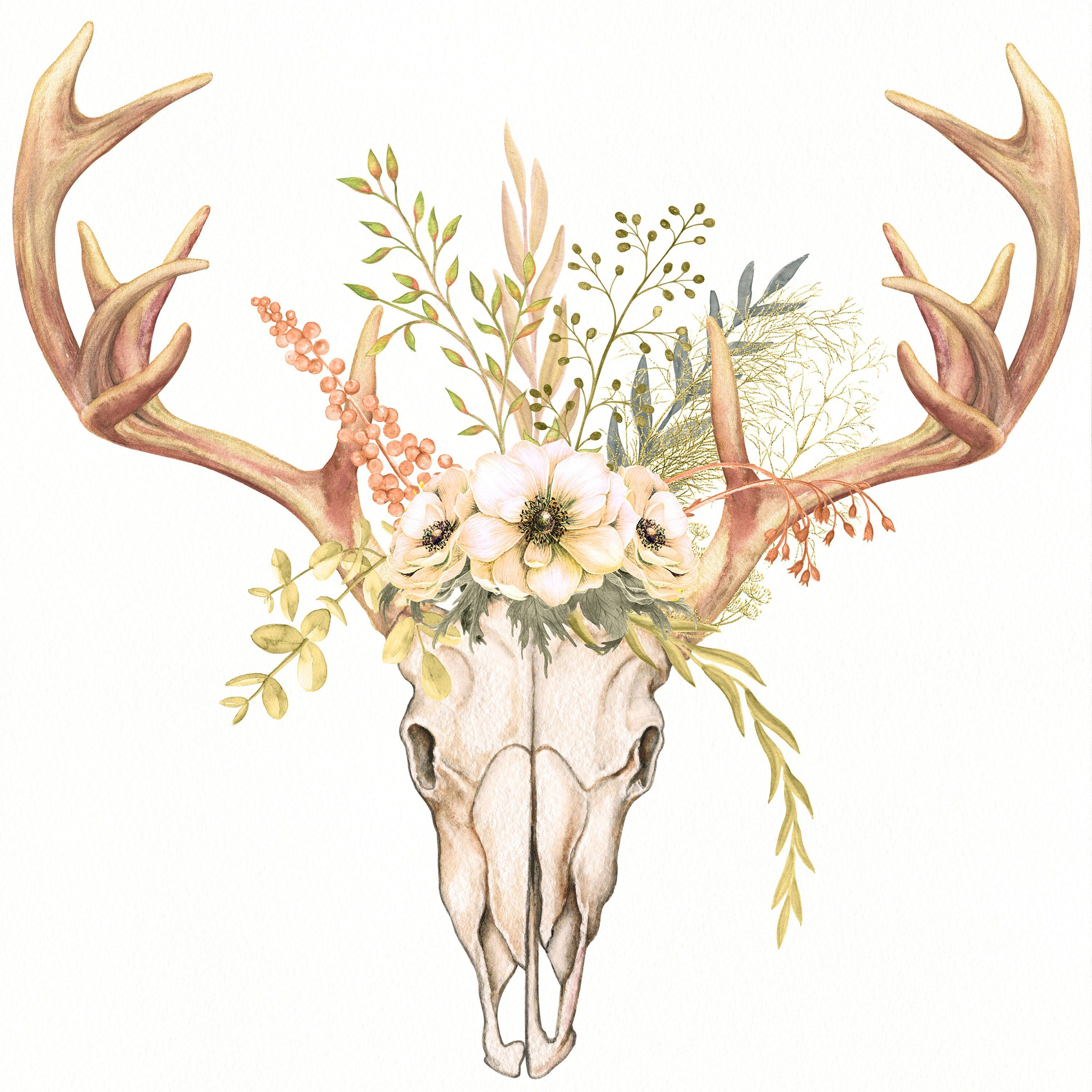 Antlers Field Flowers Clipart Bouquet Floral Watercolor Clipart