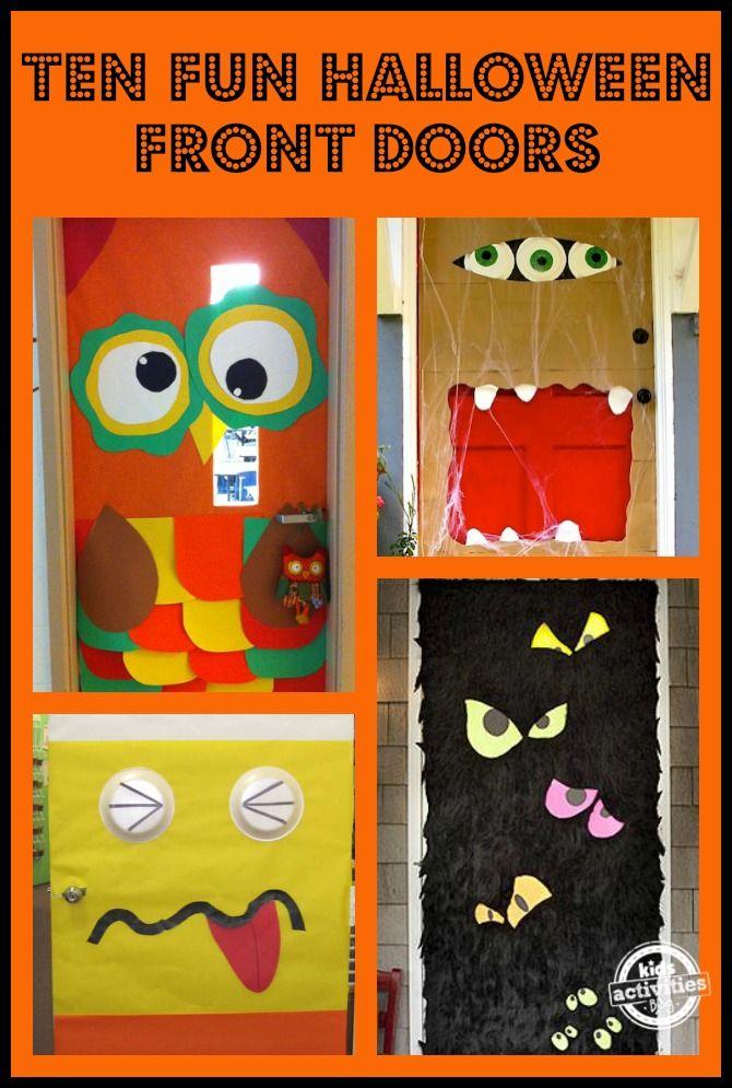 15 FUN HALLOWEEN FRONT DOORS Puertas decoradas, Día de muertos y