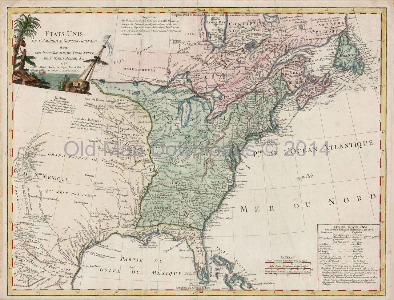 United States Old Map Brue  Digital Image Scan Download - Map of united states download