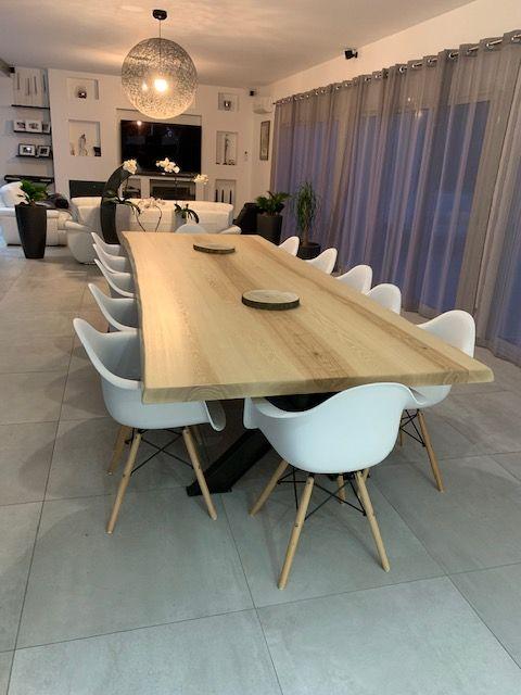 Tr s grande table de r union industrielle table de salle manger plateau en fr ne sur - Tres grande table salle a manger ...