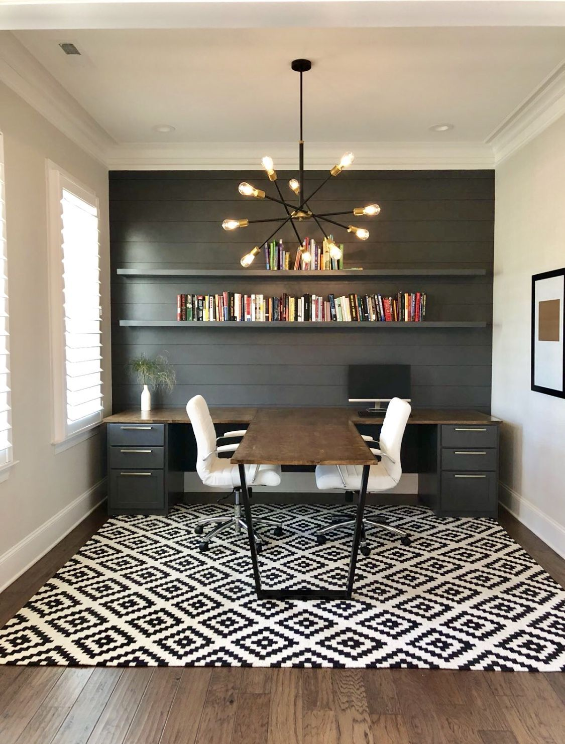 Find The Best Idea To Make A Home Office For Two Sharing A Home Office Sounds Like A Good Idea At First Glanc Brown Rooms Home Office Decor Home Office Design