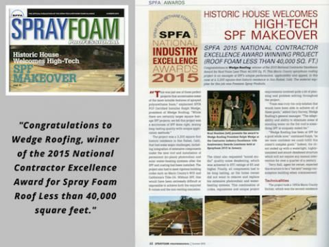 San Francisco Bay Area Roofing Contractor Wedge Receives National Spray Foam Excellence Award