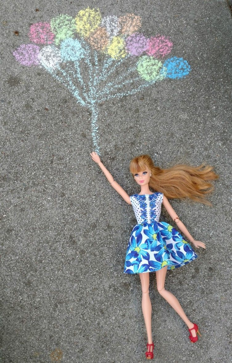 Up...Up and..... Away! #chalkart #barbiestyle
