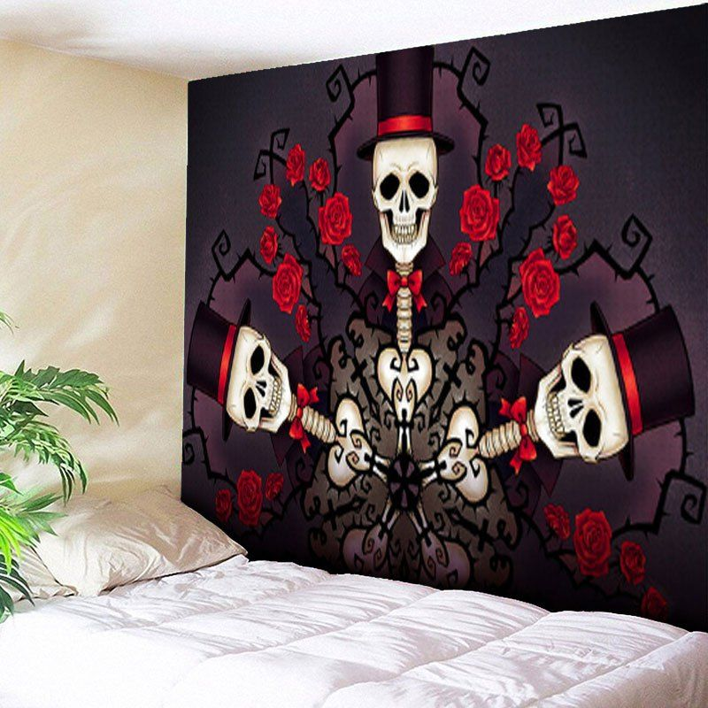 halloween skull flower bedroom decor tapestry skull on walls coveralls website id=69910