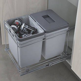 Hafele Pull-Out Waste Bin System Grey 2 x 15Ltr | Kitchen Bins | Screwfix.com