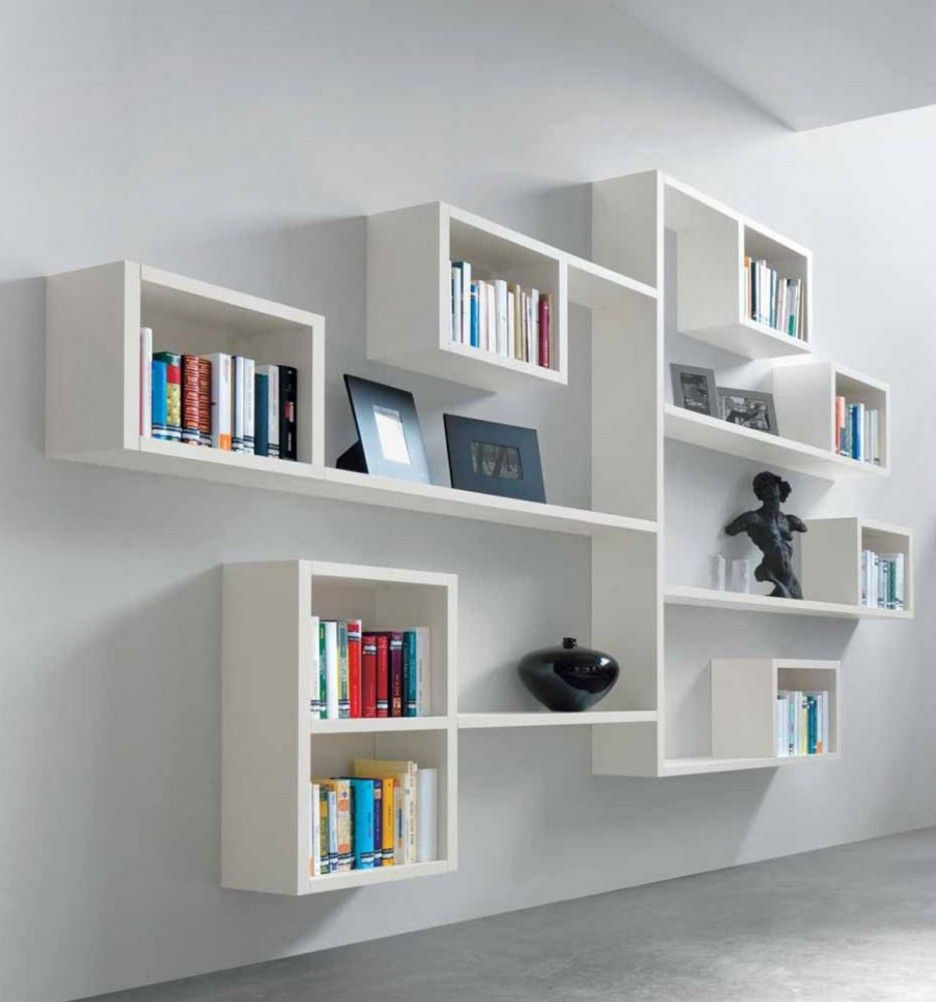 Amazing Modern Wall Mounted Shelves Ideas White Large Shelf With Decorative Black Vase And Light Grey Cement Floor