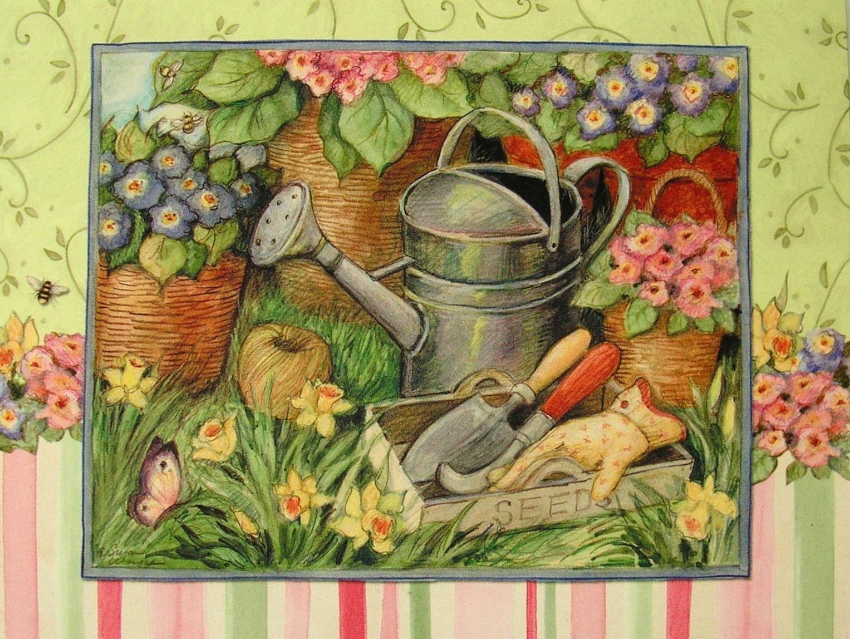 Leanin Tree Susan Winget Watering Can Garden Flower Pot Thank You
