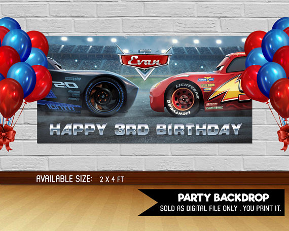 Personalized Customized Disney Cars Name Banner Wall Decor Poster with Frame