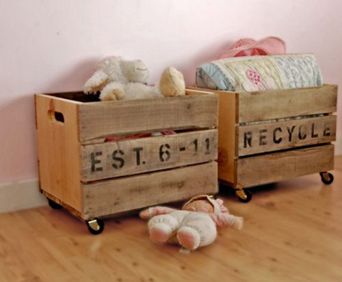 Like the idea of casters on wooden crates. toy bins for each kid?