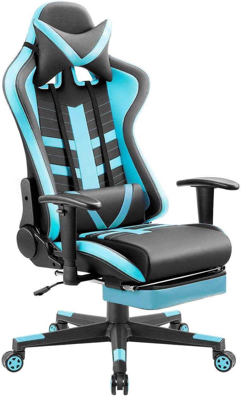 Blue Neon Gaming Chairs In 2020 Racing Chair Best Computer Chairs Leather Bucket