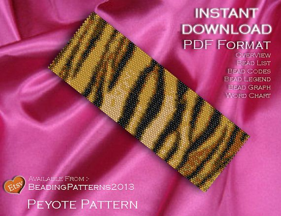 SALE 15% OFF - Peyote Pattern Bracelet Cuff Beading Miyuki Delica Size 11 Beads - PDF Download - Tiger Skin