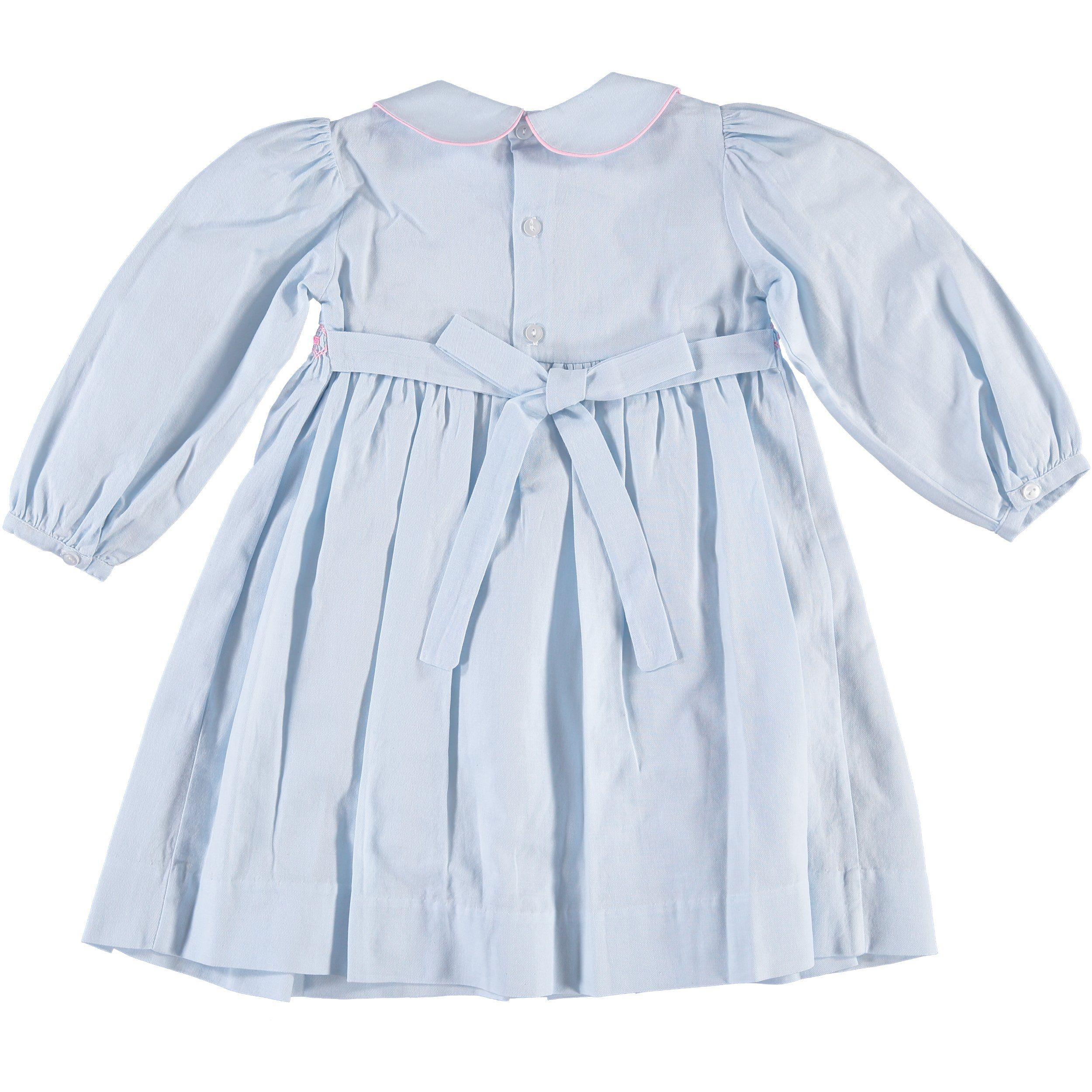 3T Carriage Boutique Girls Long Sleeve Blue Flower Dress