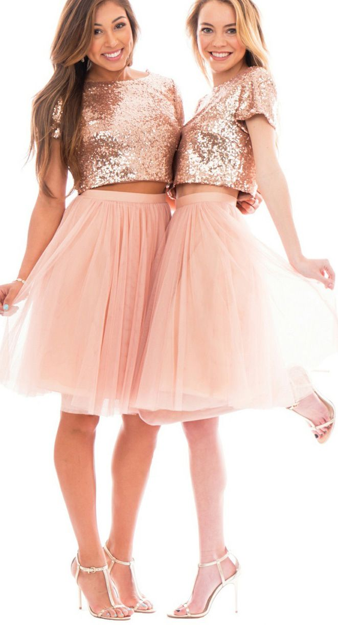 Two piece cap sleeves bridesmaid dress rose gold formal gown