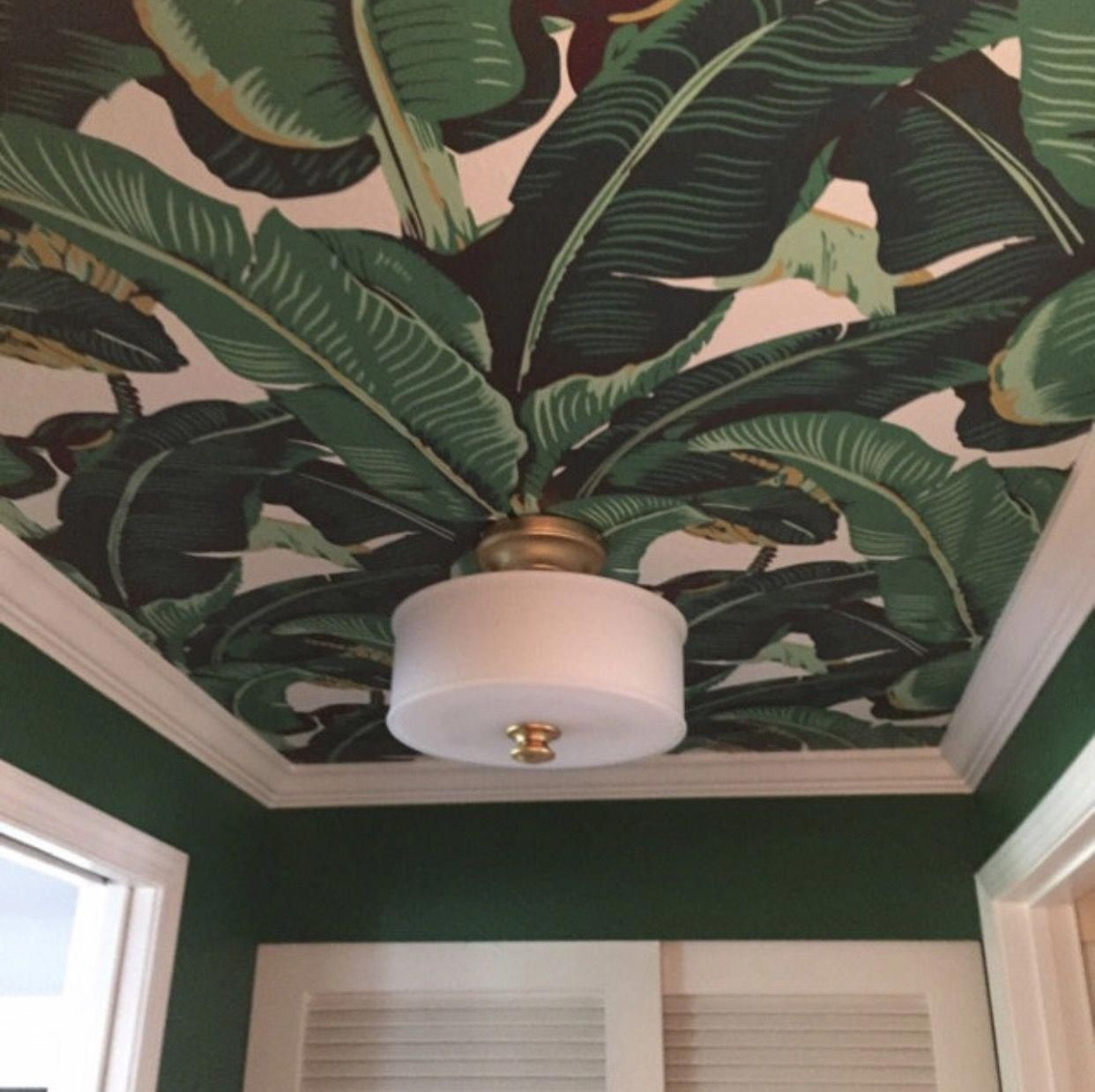 Most Beautiful Banana Leaf Removable Wallpaper On This Ceiling Bathroomtropicalwoods Leaf Wallpaper Palm Leaf Wallpaper Wallpaper Ceiling