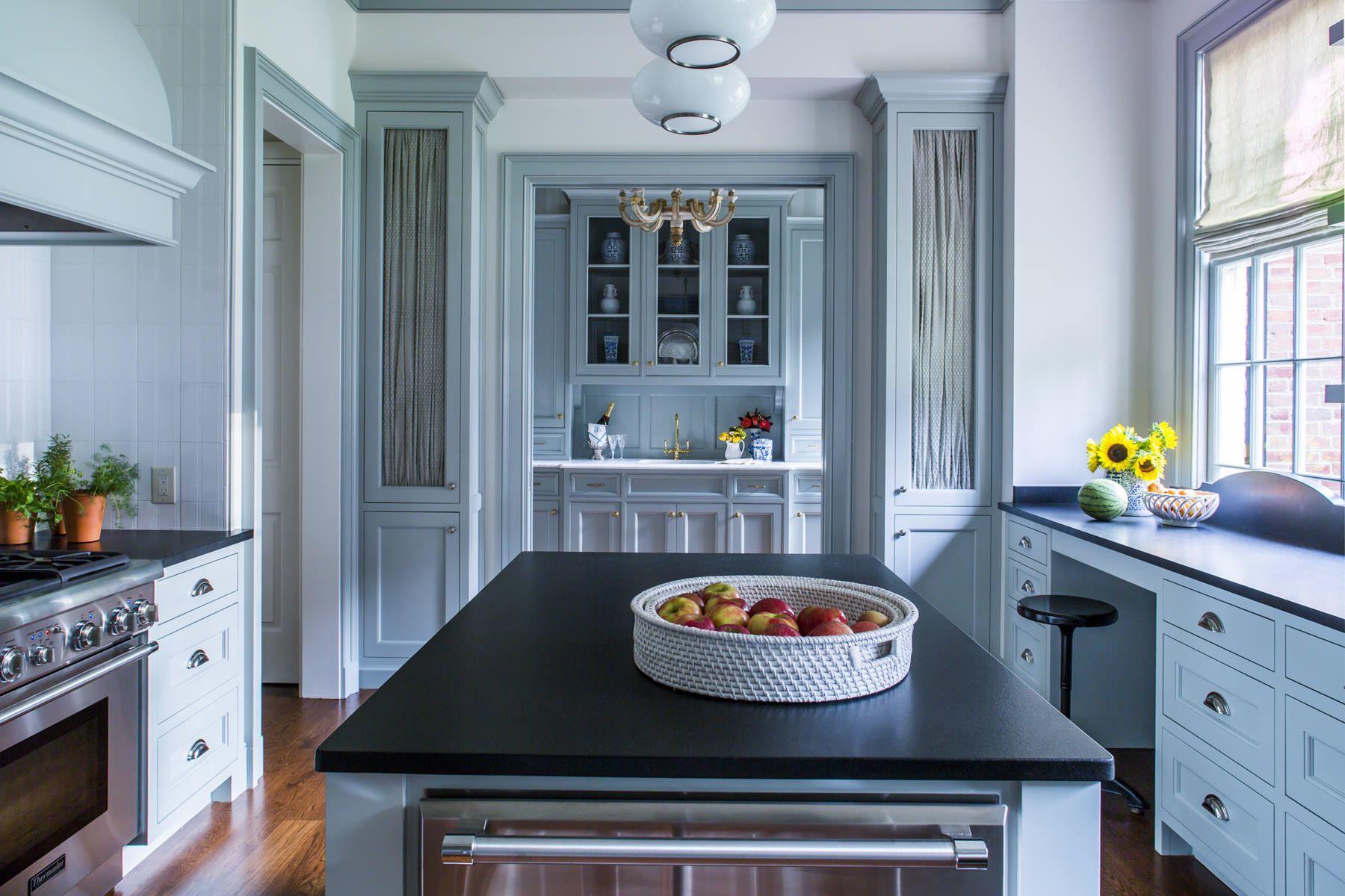 Pin By Bandit Mckinley On Kitchenz In 2020 Black Kitchen Countertops Black Countertops Blue Kitchen Designs