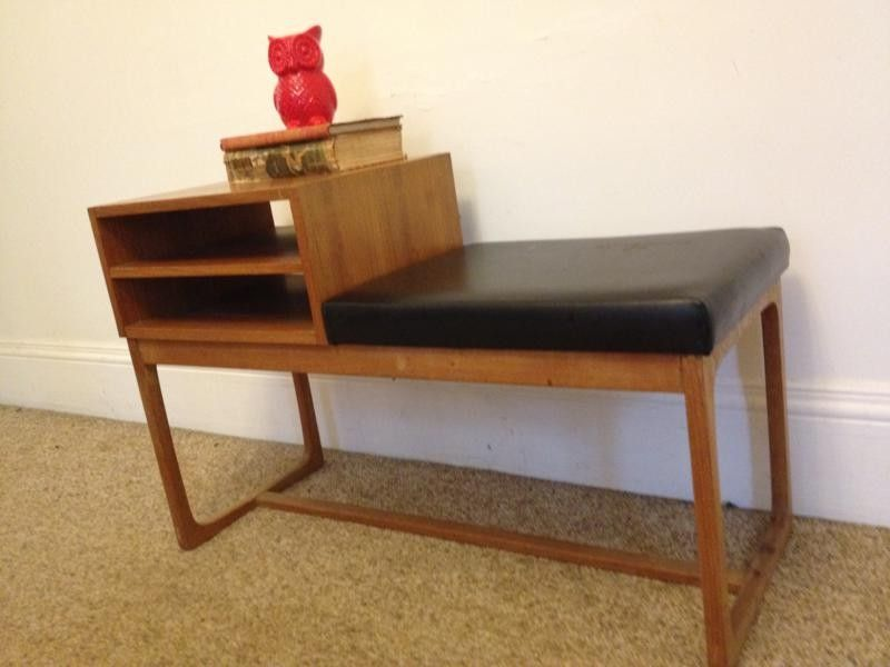 phone table. vintage retro parker furniture phone table bench hall side danish n