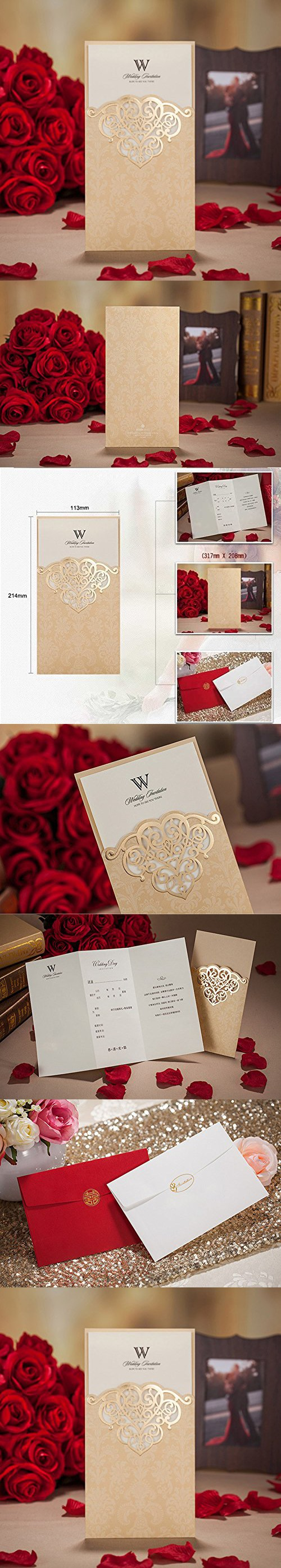 Wishmade 50x Gold Laser Cut Wedding Invitations Cards Kits Bridal ...