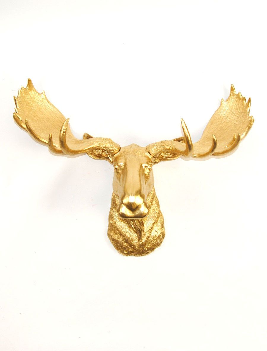 Faux Taxidermy Moose Head in Gold - The Elcide - Chic and Charming ...