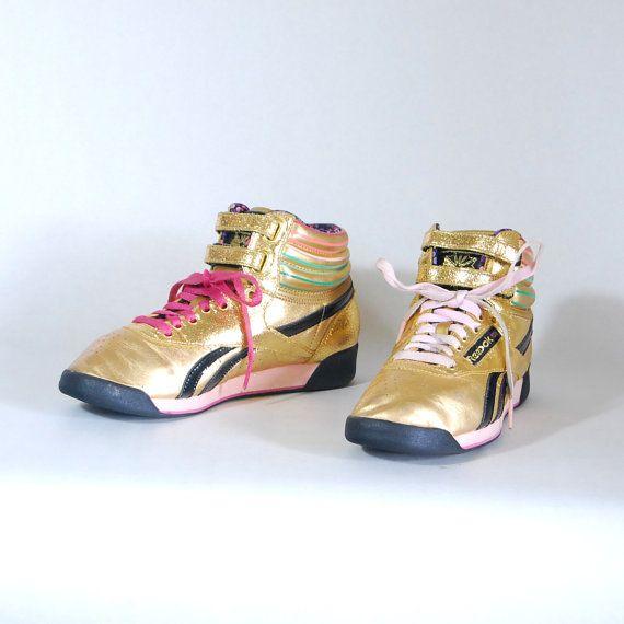 size 6.5 1980s vintage REEBOK Freestyle gold & neon leather