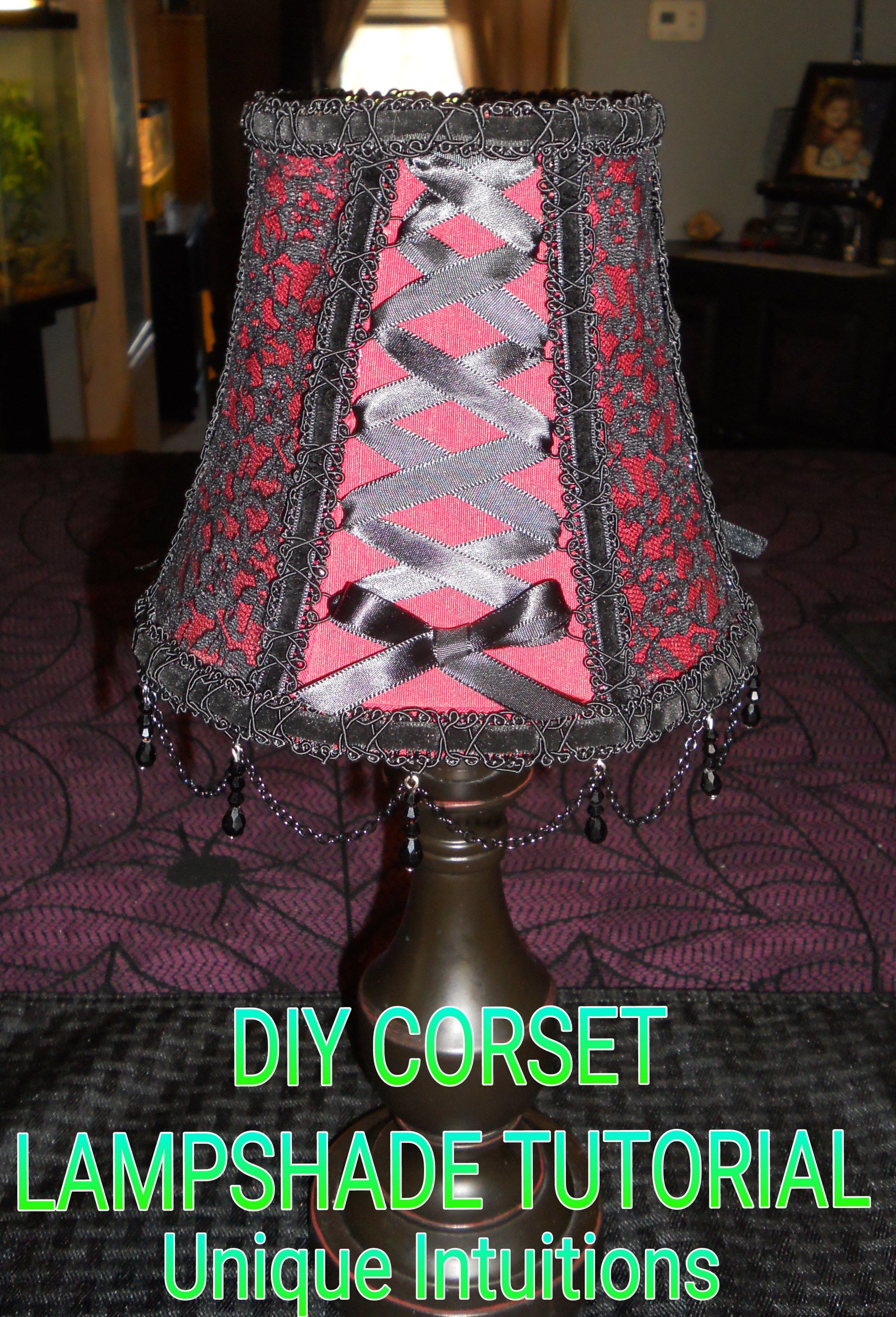 DIY Easy No Sew Corset Lampshade Tutorial #lampshade #homedecor #diydecor…