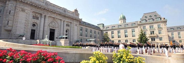 Bancroft Hall In The Spring With Midshipmen At The U S Naval