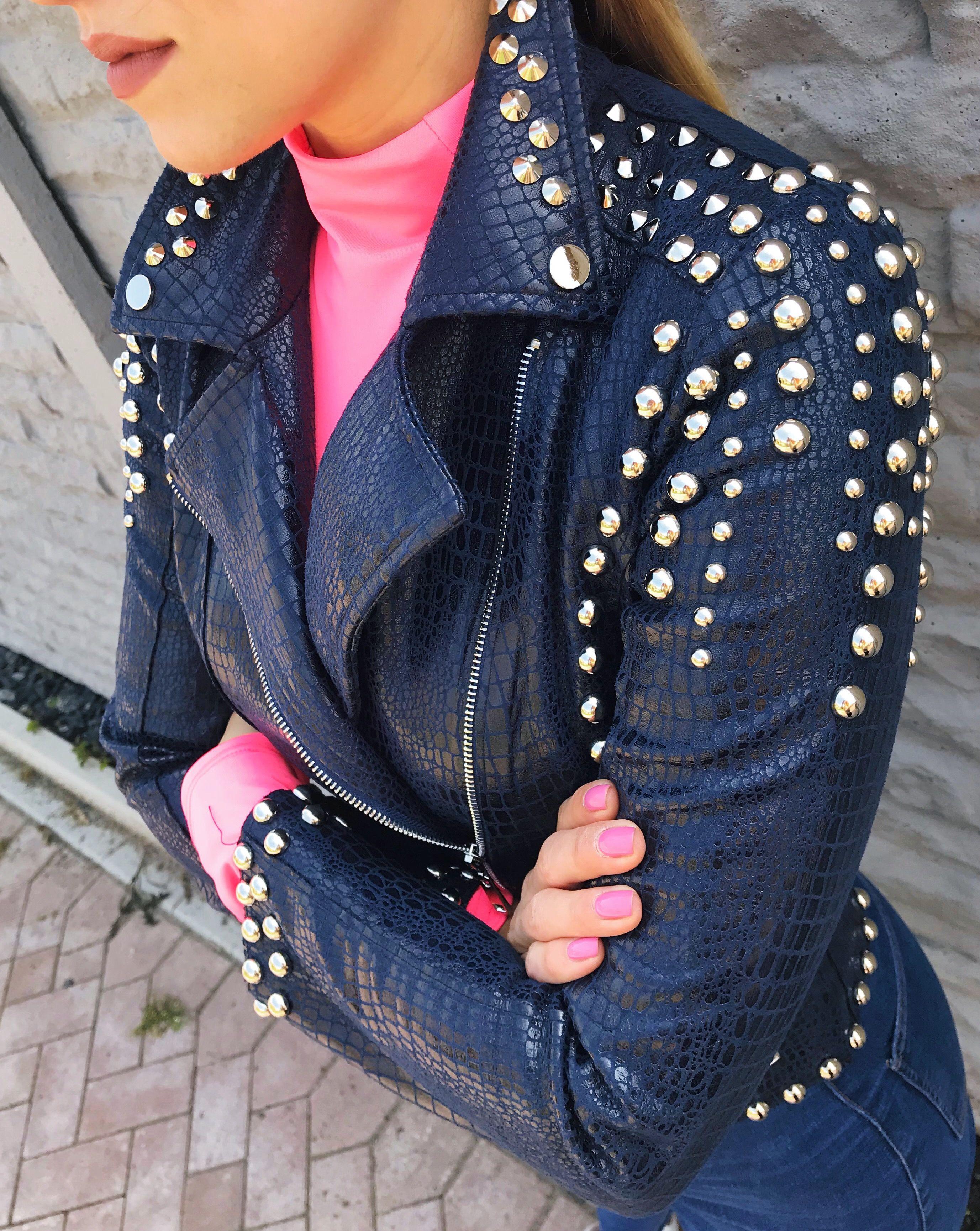 PREMIUM Dunkelblau Jacke mit Krokodil Muster | Studded ...