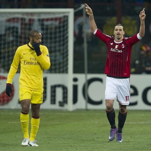 What a way to go for Thierry Henry. His last game in his second spell at Arsenal came in the San Siro against AC Milan in the Champions League last 16 and ended in a 4-0 thrashing.   Zlatan Ibrahimovic is pictured celebrating alongside him.